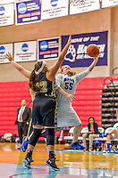 24 November 2015: Yeshiva University Maccabee Forward Michal Alge, a Sophomore from Boston, MA, in action against the College of Mount Saint Vincent Dolphins at the Baruch College ARC Arena Gymnasium, in New York, NY. The Dolphins defeated the Maccabees 67-30 in the NCAA Division III Women's Basketball Skyline matchup. Mandatory Credit: Ed Wolfstein Photo *** RAW (NEF) Image File Available ***