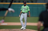 Gwinnett Stripers relief pitcher Edgar Santana (37) during the game against the Charlotte Knights at Truist Field on May 9, 2021 in Charlotte, North Carolina. (Brian Westerholt/Four Seam Images)