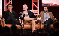 2020 FOX WINTER TCA: (L-R): 9-1-1: LONE STAR cast member/Co-Executive Producer Rob Lowe, Co-Creator/Co-Executive Producer/Showrunner Tim Minear and Executive Producer Rashid Raisani during the 9-1-1: LONE STAR panel at the 2020 FOX WINTER TCA at the Langham Hotel, Tuesday, Jan. 7 in Pasadena, CA. © 2020 Fox Media LLC. CR: Frank Micelotta/FOX/PictureGroup
