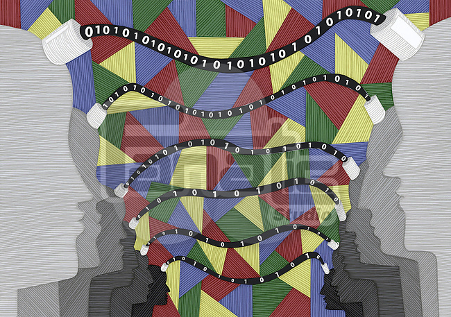 Conceptual image of wired human heads with binary code