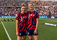 EAST HARTFORD, CT - JULY 5: Kristie Mewis #6 and Samantha Mewis #3 of the USWNT pose for a photo during a game between Mexico and USWNT at Rentschler Field on July 5, 2021 in East Hartford, Connecticut.