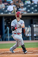 Louisville Bats outfielder Jesse Winker (23) follows through on his swing against the Toledo Mud Hens during the International League baseball game on May 17, 2017 at Fifth Third Field in Toledo, Ohio. Toledo defeated Louisville 16-2. (Andrew Woolley/Four Seam Images)