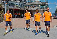 "Austria, Kitzbuhel, Juli 15, 2015, Tennis, Davis Cup, Dutch team, On the way for a photoshoot to the top of the ""Hahnenkam""  lts:  Jesse Huta Galung, Robin Haase,  Jean-Julien Rojer and Thiemo de Bakker<br /> Photo: Tennisimages/Henk Koster"