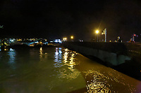 Pictured: The overflown river Towy in Carmarthen, Wales, UK. Saturday 13 October 2018<br /> Re: River Towy has burst its banks and adjacent properties have flooded, caused by storm Callum, in Carmarthen, west Wales, UK.