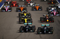 27th September 2020, Sochi, Russia; FIA Formula One Grand Prix of Russia, Race Day;  44 Lewis Hamilton GBR, Mercedes-AMG Petronas Formula One Team and 77 Valtteri Bottas FIN, Mercedes-AMG Petronas Formula One Team race into the first corner