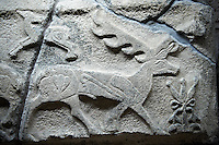 Picture & image of a Neo-Hittite orthostat showing a Deer from Alacahöyük, Alaca Çorum Province, Turkey. An Ankara Museum of Anatolian Civilizations exhibit.