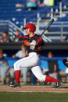 Batavia Muckdogs second baseman Mike Garzillo (11) at bat during a game against the West Virginia Black Bears on August 21, 2016 at Dwyer Stadium in Batavia, New York.  West Virginia defeated Batavia 6-5. (Mike Janes/Four Seam Images)