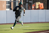 Michigan State outfielder Joe Stewart (5) sprints home against the Michigan Wolverines on March 21, 2021 in NCAA baseball action at Ray Fisher Stadium in Ann Arbor, Michigan. Michigan scored 8 runs in the bottom of the ninth inning to defeat the Spartans 8-7. (Andrew Woolley/Four Seam Images)