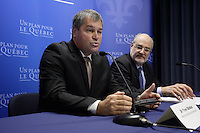 Yves Bolduc, Minister Health and Social Services (L) and David Levine Montreal Health Agency (R) adress the medias on<br /> <br /> February 6, 2016