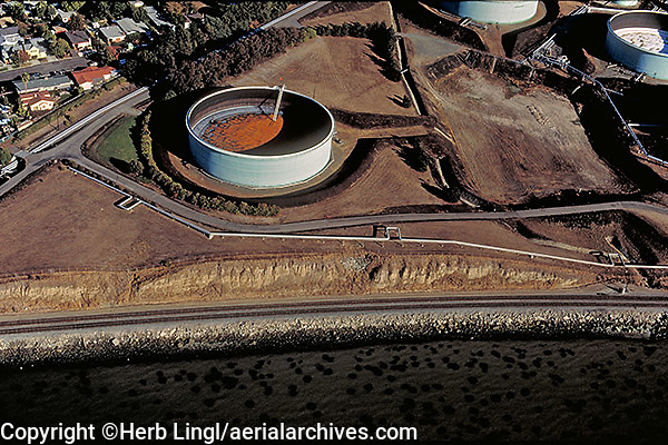 aerial photography storage tanks pipelines Richmond, Contra Costa county California