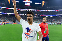 LAS VEGAS, NV - AUGUST 1: Gianluca Busio #8 of the United States during a game between Mexico and USMNT at Allegiant Stadium on August 1, 2021 in Las Vegas, Nevada.