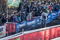 later winner European Champion Mathieu van der Poel (NED/Beobank Coredon) leading the race from start to finish.<br /> <br /> men's elite race<br /> Flandriencross Hamme / Belgium 2017