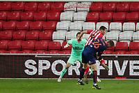 Sunderland's Charlie Wyke is challenged by Blackpool's Dan Ballard in the Blackpool's box during Sunderland AFC vs Blackpool, Sky Bet EFL League 1 Football at the Stadium Of Light on 27th April 2021