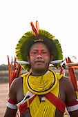 A Kayapo warrior from the remote village of Gorotire during a cultural presentation at the first ever International Indigenous Games, in the city of Palmas, Tocantins State, Brazil. The games will start with an opening ceremony on Friday the 23rd October. Photo © Sue Cunningham, pictures@scphotographic.com 21st October 2015