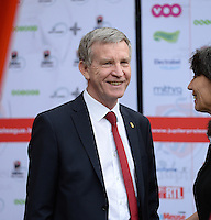 20150508 - LIEGE , BELGIUM : Standard's chairman Roland Duchatelet pictured during the soccer match between the women teams of Standard de Liege Femina and PSV Eindhoven , on the 26th and last matchday of the BeNeleague competition Friday 8 th May 2015 in Stade Maurice Dufrasne in Liege . PHOTO DAVID CATRY
