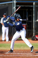 San Diego Padres minor league outfielder Jose Urena #9 during an instructional league game against the Seattle Mariners at the Peoria Sports Complex on October 6, 2012 in Peoria, Arizona.  (Mike Janes/Four Seam Images)