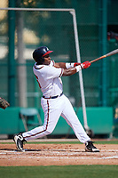 GCL Braves right fielder Trey Harris (5) follows through on a swing during the first game of a doubleheader against the GCL Yankees West on July 30, 2018 at Champion Stadium in Kissimmee, Florida.  GCL Yankees West defeated GCL Braves 7-5.  (Mike Janes/Four Seam Images)