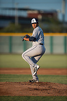 AZL Padres 1 starting pitcher Luarbert Arias (18) delivers a pitch during an Arizona League game against the AZL Cubs 1 at Sloan Park on July 5, 2018 in Mesa, Arizona. The AZL Cubs 1 defeated the AZL Padres 1 3-1. (Zachary Lucy/Four Seam Images)