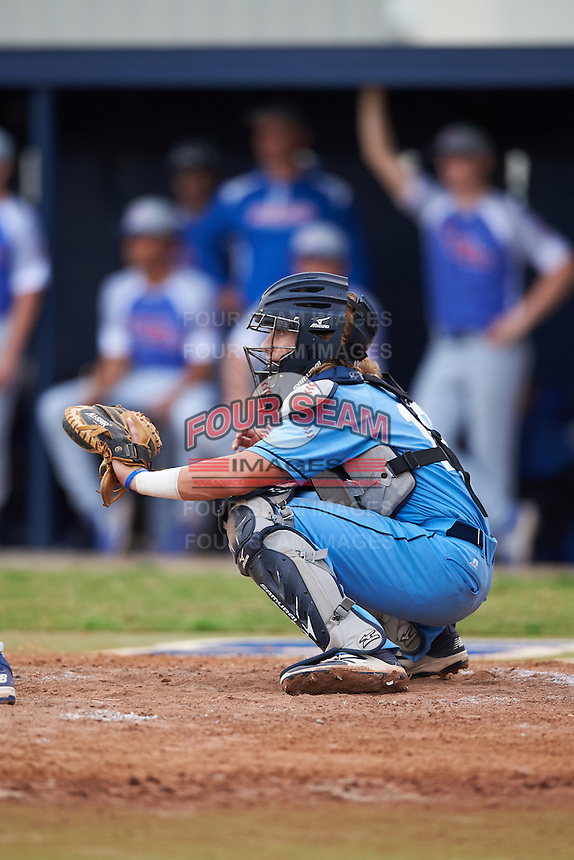 SCF Manatees catcher Reilly Johnson (19) waits for a pitch during a game against the College of Central Florida Patriots on February 8, 2017 at Robert C. Wynn Field in Bradenton, Florida.  SCF defeated Central Florida 6-5 in eleven innings.  (Mike Janes/Four Seam Images)