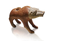 Bronze Age Anatolian terra cotta wolf shaped ritual vessel - 19th to 17th century BC - Kültepe Kanesh - Museum of Anatolian Civilisations, Ankara, Turkey. Against a white background.