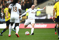 Jonjo Shelvey of Swansea shoots at the goal   during the Emirates FA Cup 3rd Round between Oxford United v Swansea     played at Kassam Stadium  on 10th January 2016 in Oxford