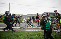 Luke Durbridge (AUS/Orica-GreenEDGE) just crashed and the press is all over him...<br /> <br /> Ronde van Vlaanderen 2014