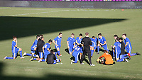 Orlando, Florida - Monday January 15, 2018: Team Tango stretches after their game. Match Day 2 of the 2018 adidas MLS Player Combine was held Orlando City Stadium.