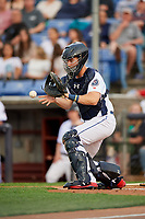 Binghamton Rumble Ponies catcher Patrick Mazeika (11) receives a throw at home plate during a game against the Erie SeaWolves on May 14, 2018 at NYSEG Stadium in Binghamton, New York.  Binghamton defeated Erie 6-5.  (Mike Janes/Four Seam Images)