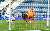 20th February 2021; The John Smiths Stadium, Huddersfield, Yorkshire, England; English Football League Championship Football, Huddersfield Town versus Swansea City; Jamal Lowe of Swansea City has a first Half chance but puts it wide of the post