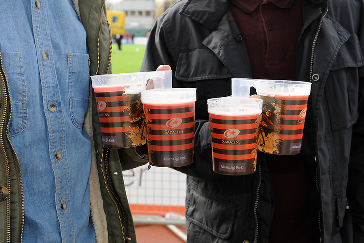 20130216 Copyright onEdition 2013©.Free for editorial use image, please credit: onEdition..Detail of the Saracens branded beer mugs at the Premiership Rugby match between Saracens and Exeter Chiefs at Allianz Park on Saturday 16th February 2013 (Photo by Rob Munro)..For press contacts contact: Sam Feasey at brandRapport on M: +44 (0)7717 757114 E: SFeasey@brand-rapport.com..If you require a higher resolution image or you have any other onEdition photographic enquiries, please contact onEdition on 0845 900 2 900 or email info@onEdition.com.This image is copyright onEdition 2013©..This image has been supplied by onEdition and must be credited onEdition. The author is asserting his full Moral rights in relation to the publication of this image. Rights for onward transmission of any image or file is not granted or implied. Changing or deleting Copyright information is illegal as specified in the Copyright, Design and Patents Act 1988. If you are in any way unsure of your right to publish this image please contact onEdition on 0845 900 2 900 or email info@onEdition.com