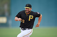 Pittsburgh Pirates Francisco Cervelli (29) running the bases in a drill during the teams first Spring Training practice on February 18, 2019 at Pirate City in Bradenton, Florida.  (Mike Janes/Four Seam Images)