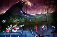 Milano, 1988.Graffiti realizzati dai giovani dei centri sociali durante l'occupazione temporanea di un deposito dell'ATM in Pta Genova..Foto Livio Senigalliesi