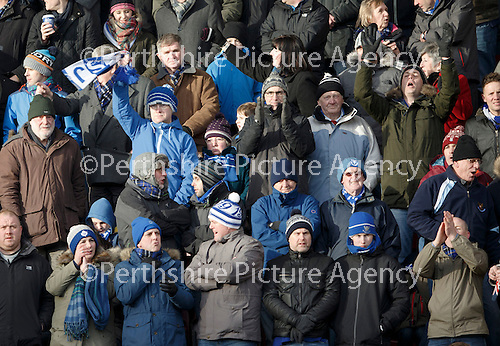 Hibs v St Johnstone...30.01.16   Utilita Scottish League Cup Semi-Final, Tynecastle..<br /> St Johnstone fans cheer the saints players<br /> Picture by Graeme Hart.<br /> Copyright Perthshire Picture Agency<br /> Tel: 01738 623350  Mobile: 07990 594431