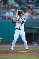 Ryan Dorow (8) of the Down East Wood Ducks at bat against the Winston-Salem Dash at Grainger Stadium Field on May 17, 2019 in Kinston, North Carolina. The Dash defeated the Wood Ducks 8-2. (Brian Westerholt/Four Seam Images)