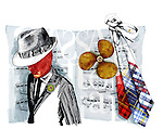 Illustration of musician with music note and ties over white background