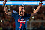 Antoine Griezmann of Atletico de Madrid celebrates the team winning the 2018 UEFA Super Cup after the La Liga 2018-19 match between Atletico de Madrid and Rayo Vallecano at Wanda Metropolitano on August 25 2018 in Madrid, Spain. Photo by Diego Souto / Power Sport Images