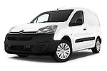 Stock pictures of low aggressive front three quarter view of 2016 Citroen Berlingo-Furgon Club-M 4 Door Car Van Low Aggressive