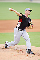Braden Tullis #11 of the Hickory Crawdads in action against the Kannapolis Intimidators at Fieldcrest Cannon Stadium August 17, 2010, in Kannapolis, North Carolina.  Photo by Brian Westerholt / Four Seam Images