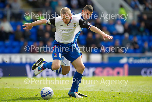 St Johnstone v Inverness Caley Thistle.....27.04.13      SPL.Richie Foran holds off Mehdi Abeid.Picture by Graeme Hart..Copyright Perthshire Picture Agency.Tel: 01738 623350  Mobile: 07990 594431