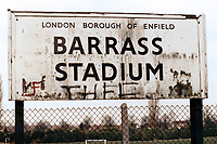 Entrance sign at the Henry Barrass Stadium, Houndsfield Road, Edmonton, London, pictured on 5th April 1988