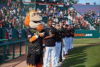 San Jose Giants mascot Gigante stands with the team during the playing of the National Anthem before a California League game against the Visalia Rawhide on April 13, 2019 at San Jose Municipal Stadium in San Jose, California. Visalia defeated San Jose 4-2. (Zachary Lucy/Four Seam Images)