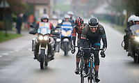 Ian Stannard (GBR) & Greg Van Avermaet (BEL) detatched themselves from the lead group and now have to hold them off with about 10km to go<br /> <br /> Omloop Het Nieuwsblad 2014