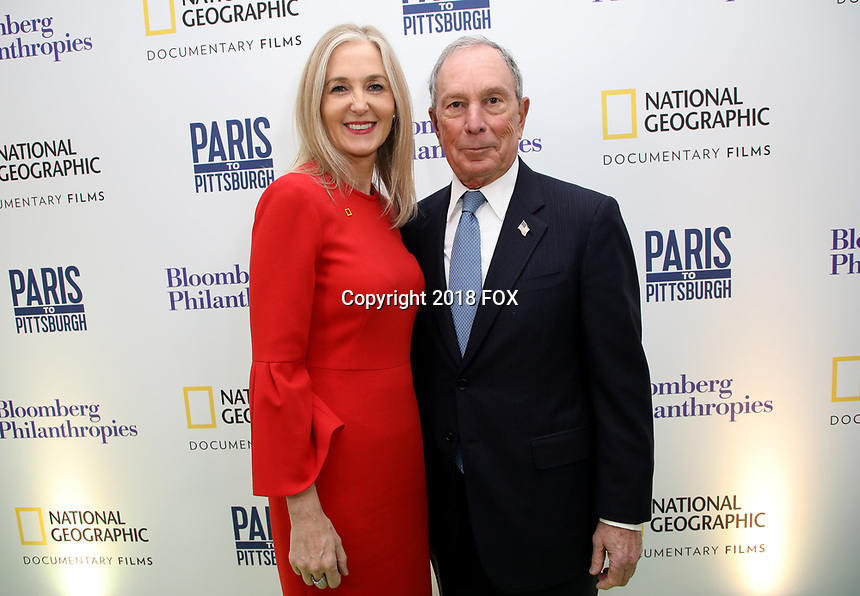 """LONDON, UK - DECEMBER 11: Deborah Armstrong and Michael Bloomberg attend the London Premiere of Bloomberg and National Geographic's """"Paris to Pittsburgh"""" at the BAFTA Theatre on December 11, 2018 in London, UK. (Photo by Vianney Le Caer/National Geographic/PictureGroup)"""