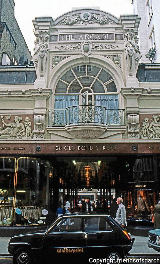 London: Royal Arcade Entrance, 1879. Old Bond St.