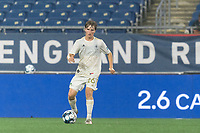 FOXBOROUGH, MA - AUGUST 5: Cole Frame #26 of North Carolina FC passes the ball during a game between North Carolina FC and New England Revolution II at Gillette Stadium on August 5, 2021 in Foxborough, Massachusetts.