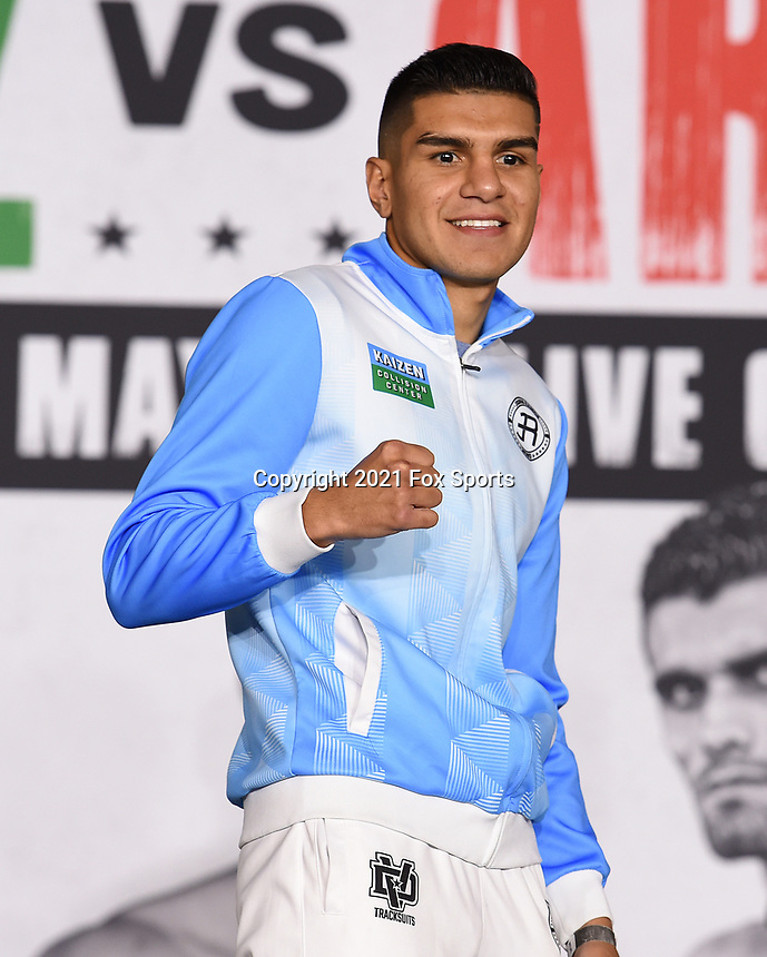 LOS ANGELES, CA - APRIL 29: Jesus Ramos Jr. attends the undercard press conference for the Andy Ruiz Jr. vs Chris Arreola Fox Sports PBC Pay-Per-View in Los Angeles, California on April 29, 2021. The PPV fight is on May 1, 2021 at Dignity Health Sports Park in Carson, CA. (Photo by Frank Micelotta/Fox Sports/PictureGroup)