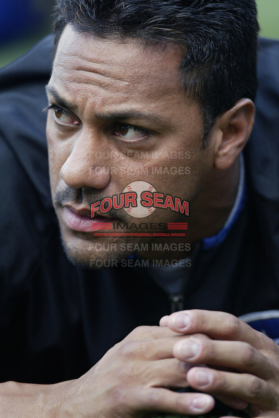 Juan Gonzalez of the Texas Rangers before a 2002 MLB season game against the Los Angeles Angels at Angel Stadium, in Los Angeles, California. (Larry Goren/Four Seam Images)
