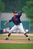 Bowing Green Hot Rods starting pitcher Yonny Chirinos (23) delivers a pitch during a game against the Burlington Bees on May 7, 2016 at Community Field in Burlington, Iowa.  Bowling Green defeated Burlington 11-1.  (Mike Janes/Four Seam Images)