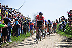 Frederik Frison (BEL) Loto-Soudal leads the peleton on one of the pave sectors during the 116th edition of Paris-Roubaix 2018. 8th April 2018.<br /> Picture: ASO/Pauline Ballet | Cyclefile<br /> <br /> <br /> All photos usage must carry mandatory copyright credit (© Cyclefile | ASO/Pauline Ballet)