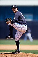 New York Yankees pitcher Andrew Schwaab (41) during a Minor League Spring Training game against the Detroit Tigers on March 21, 2018 at the New York Yankees Minor League Complex in Tampa, Florida.  (Mike Janes/Four Seam Images)